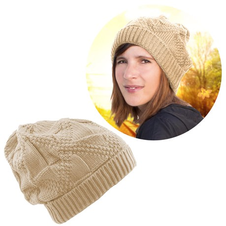Long Beanie XXL Strick Winter Mütze Slouch Damen Herren Kinder - beige