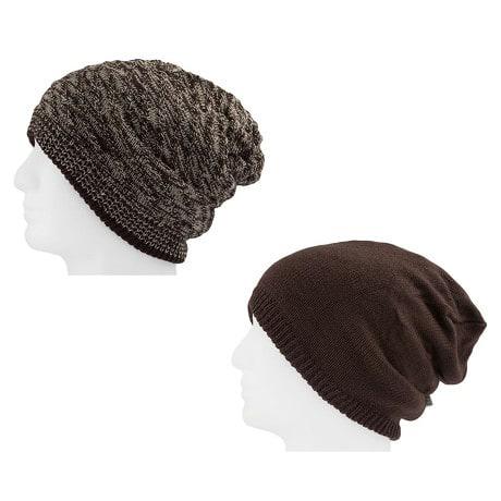 Long XXL Beanie Mütze zweiseitig Herren Winter Mützen - brown-white