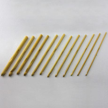 Häkelnadel Bambus Stärke Größe 3 - 10mm (Set 12 Stück)
