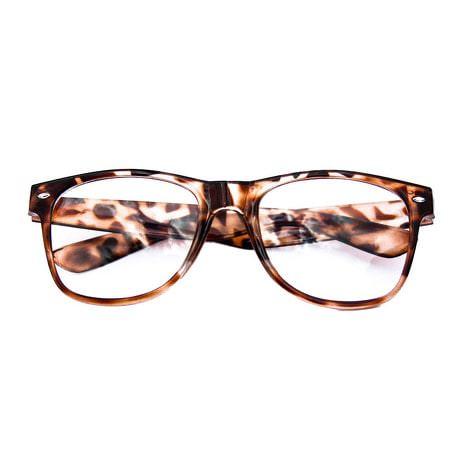 Nerdbrille Hornbrille 80s Retro Nerd Streber Brille - leopardenmuster