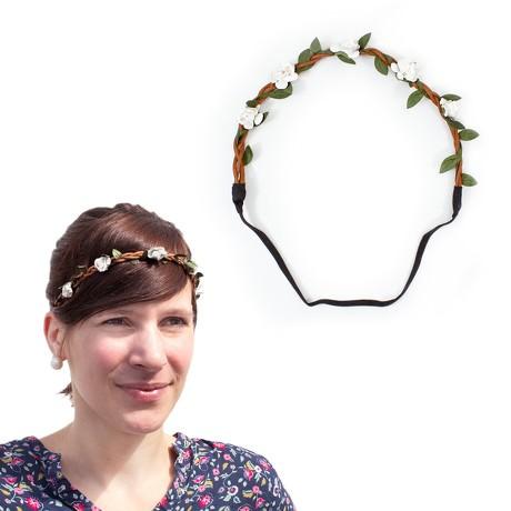 Blumen Haarband Stirnband Haarschmuck Bohemia Kopfschmuck - weiß
