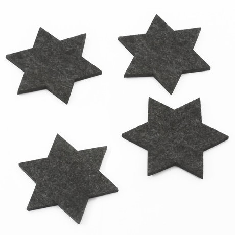 4 Filz Untersetzer Sterne Glasuntersetzer Weihnachtsdeko - dunkelgrau