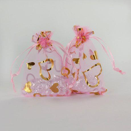Organzasäckchen Organzabeutel Schmuckbeutel rosa goldene Herzen