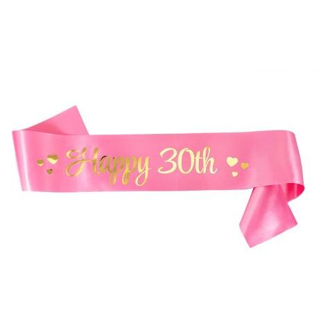 Schärpe Happy 30th 30. Geburtstag 30er Party Feier Jubiläum rosa gold