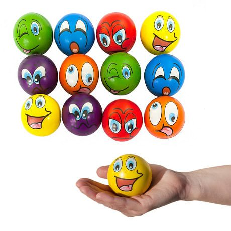 Smiley Grimassen Knautschball Antistressball Softball - Mix
