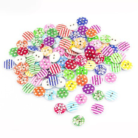 100x Holz Knöpfe Kinderknöpfe Buttons Nähen Kleidung Deko Basteln
