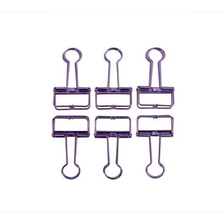 6 Foldback Klammern Klemmen Papierklammern Vielzweckklemmen - lila