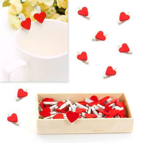 50 Mini Wäscheklammern Holz Miniklammern Deko Klammern - rote Herzen