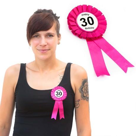 Brosche Button 30. Geburtstag Happy Birthday Abzeichen - pink