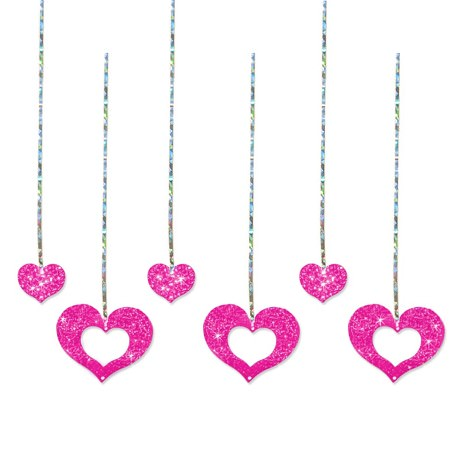 Lametta mit Herzen Herzlametta Dekoration Party Fasching - pink
