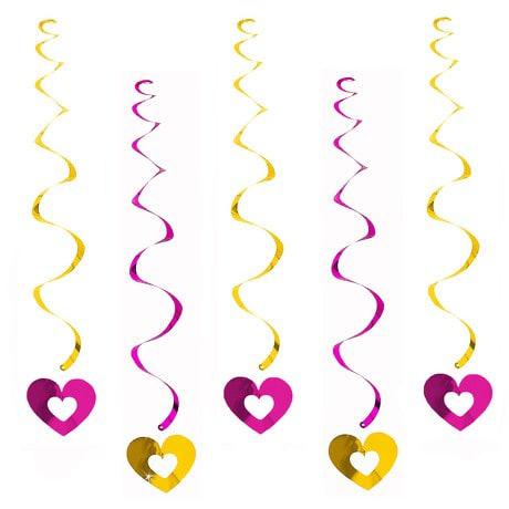 5 Girlande Spiral Wirbel Deckenhänger mit Herz offen - gelb-pink