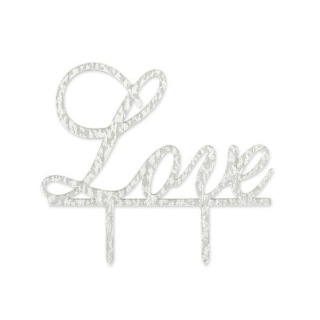 Hochzeitstorten Topper Love Kuchendeckel Hochzeit - silber