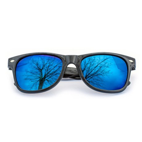 Nerdbrille Hornbrille 80s Retro Nerd Sonnenbrille - blau / verspiegelt