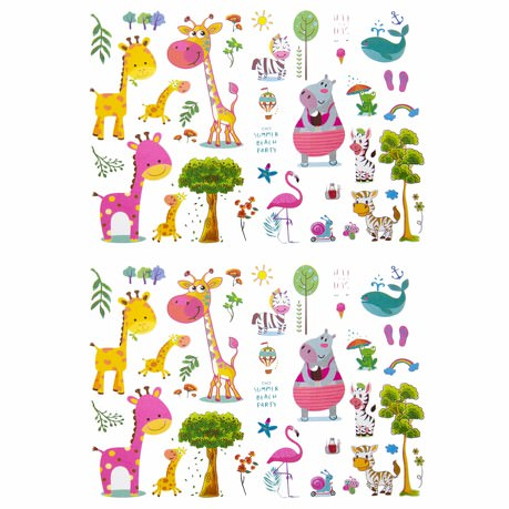 Temporäre Klebetattoos Kinder Tattoo Set - Giraffen Zebra Motive uvm
