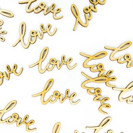 Love Konfetti 18 Stk Hochzeit Liebe Streudeko Verzierung Echtholz Deko