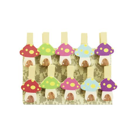 10 Mini Wäscheklammern Holz Miniklammern Deko Klammern - bunte Pilze