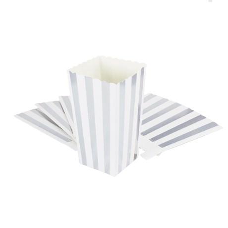 Popcorn Schachtel Tüte Snack Box 8 Stk. Tisch Deko - weiß silber
