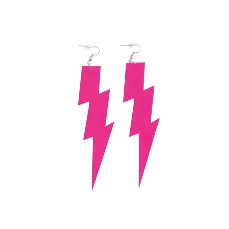 Blitz Ohrringe für 80s 80er Jahre Motto Party Fasching Karneval Kostüm Damen Ohrstecker - pink