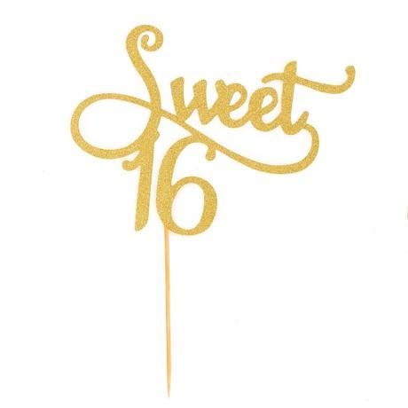 Torten Topper Kuchen Muffin Aufsatz Sweet 16 Geburtstag Jubliäum Deko