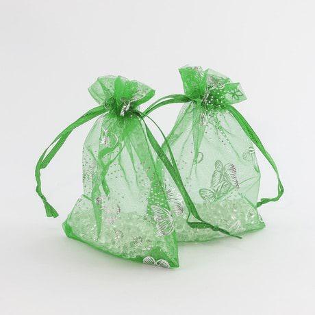 Organzasäckchen Organzabeutel grün Schmetterlinge versch. Größen