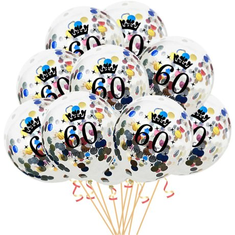 10x Konfetti Luftballons Zahl 60 Geburtstag Happy Birthday 60 Ballons