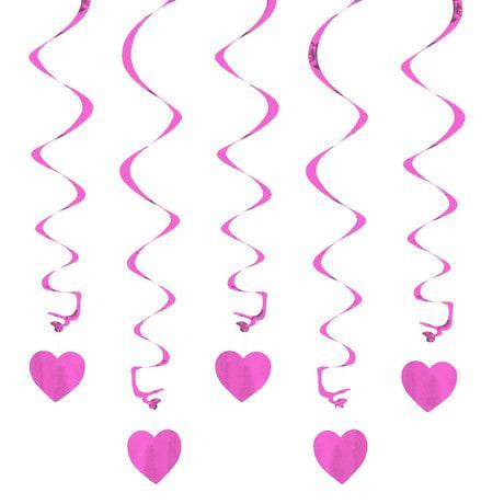 5 Girlande Spiral Deckenhänger mit Herz - flieder-rosa