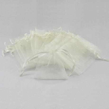 Organzasäckchen Organzabeutel Schmuckbeutel Säckchen Organza - creme weiß