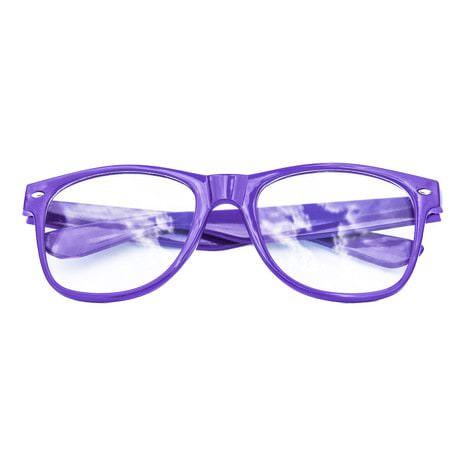 Nerdbrille Hornbrille 80s Retro Nerd Streber Brille - lila