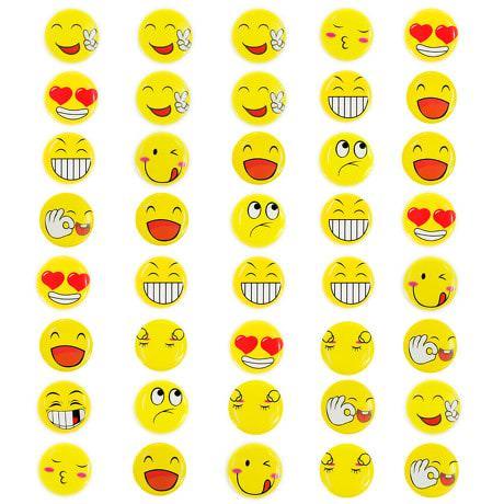 40 Smiley Button Anstecker Face Lächeln Emoji - gelb