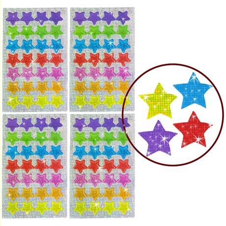 112 Funkelnde Glitzer Sterne Sticker Kinder Aufkleber - bunt