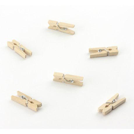 24 Mini Wäscheklammern Holz Miniklammern kleine Deko Klammern - Natur