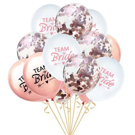 Team Bride Konfetti Luftballon Set 15 Stk JGA Hochzeit Hen Party Mix