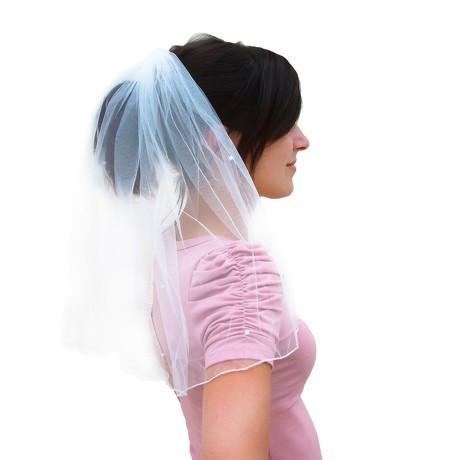 Brautschleier mit Haarkamm JGA Hochzeit Schleier weiß