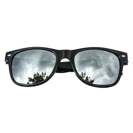 Nerdbrille Hornbrille Retro Nerd Sonnenbrille - schwarz / verspiegelt