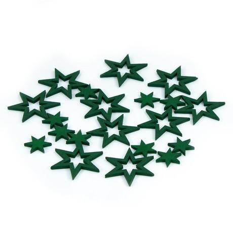 18 Holz Sterne Holzdeko Weihnachtsdeko Tischdeko Weihnachten - grün