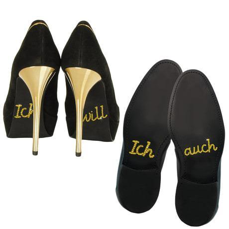 Schuhsticker Set Brautpaar Hochzeit Ich will / Ich auch - gold