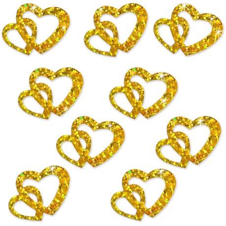 Herz Konfetti Tischdeko Liebe Romantik Hochzeitsdeko - gold glitzer