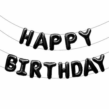 Happy Birthday Folienballon Girlande in schwarz Geburtstag Party Feier Deko