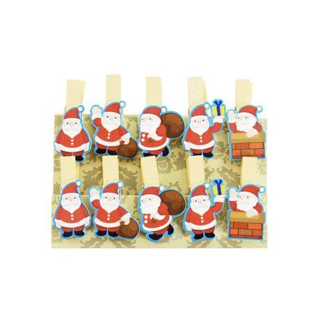 10 Mini Wäscheklammern Holz Miniklammern Deko Klammern -Weihnachtsmann