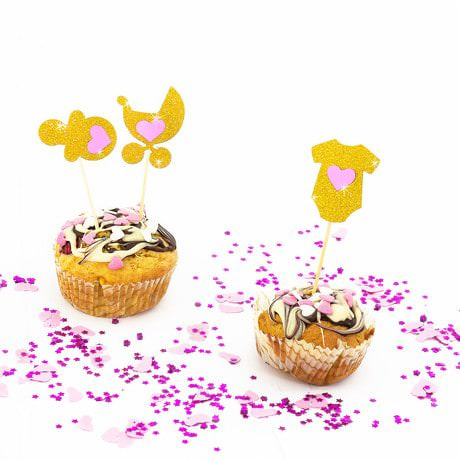 3 Topper Holzsticker Baby Shower Mädchen Kuchen Cupcake Deko Aufsatz