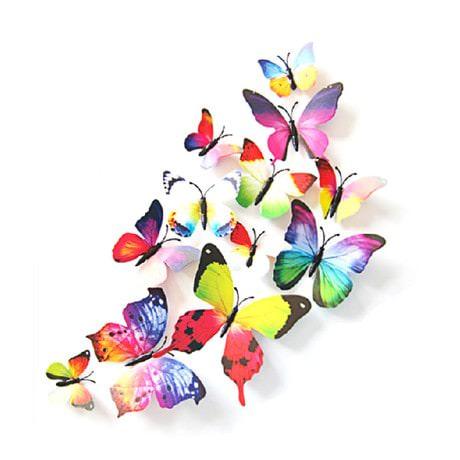 3D Schmetterlinge 12er Set Wandtattoo Wandsticker Wanddeko - Rainbow
