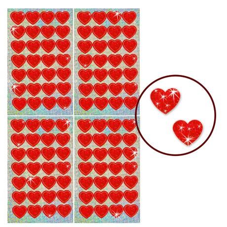 112 Funkelnde Glitzer Herzen Sticker Kinder Aufkleber - rot
