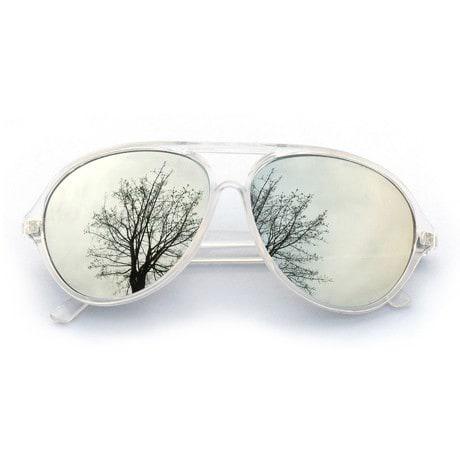 Pilotenbrille Sonnenbrille Herren Damen Flieger transparent silber