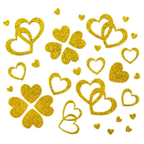 Herz Sticker Set Glitter Glitzernd - gold