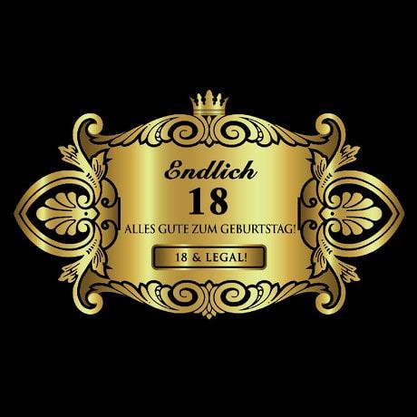 Flaschenetikett Aufkleber Sticker gold Geburtstag - Endlich 18