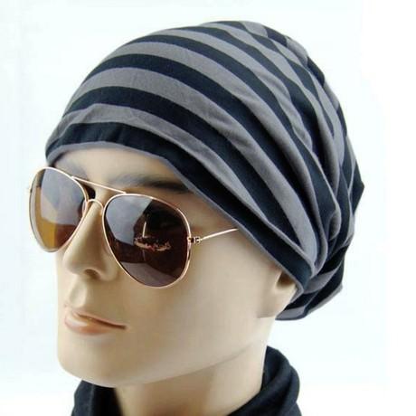 Long Beanie Jersey Mütze Slouch XXL Mützen - gestreift schwarz-grau
