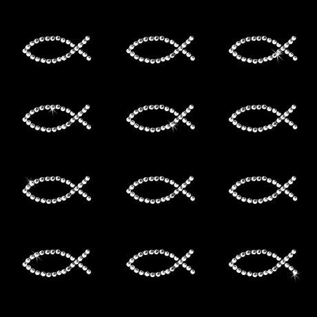 12 Fisch Sticker Strass Steine Aufkleber Kommunion Taufe - silber