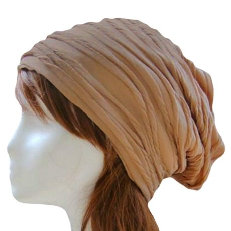 Long Beanie Jersey Mütze Slouch XXL Mützen - wrinkled beige