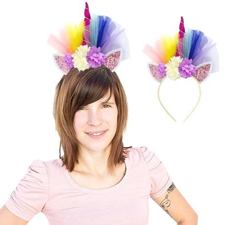 Haarreifen Einhorn Haarreif Unicorn Fasching Karneval JGA pink