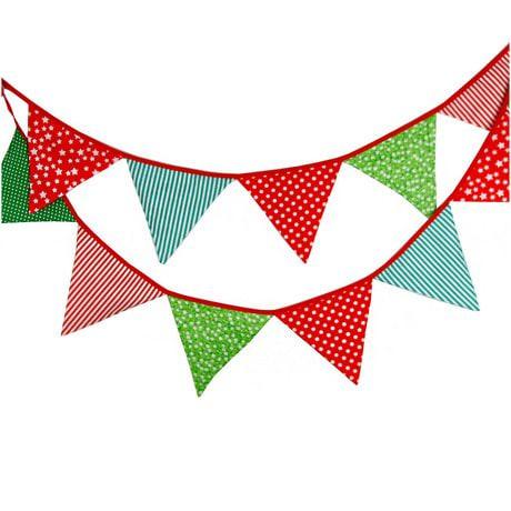 Wimpel Girlande Wimpelkette Banner Vintage - grün-rot 2